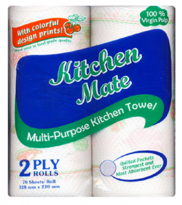 Kitchen Mate Paper Towel 2ply Printed   70pulls
