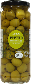 Tesco Pitted Green Olives in Brine | 340g